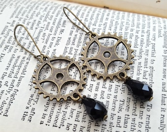Steampunk earrings - cogs and black bead drop in antique bronze