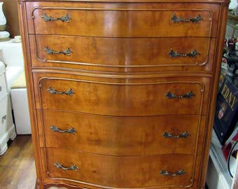 Gorgeous Tall Dresser - exotic burl Myrtle wood chest