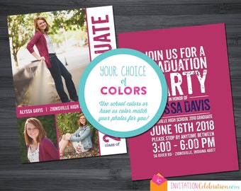 Girl Graduation Invitation - Any COLORS - 3 Photos - Graduation Party - Announcement - Open House - Choose Digital or Printed w/ Envelopes