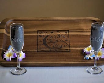 Spring into Spring Sale 30-50% OFF!  Personalized Engraved Serving Tray w/set of Champagne Glasses. Wedding/House Warming Gift.