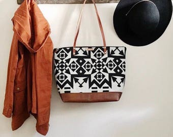 Large Wool Tote - Tribal tote - Leather Tote - Diaper Bag - fall tote - weekender - overnight bag