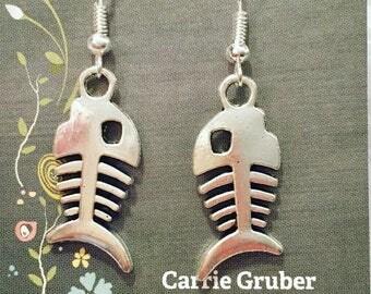 Tibetan silver fish bone earrings on nickel free ear wires.