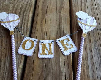 Hot Air Balloon Cake Bunting, Cake Topper, Cake Smash