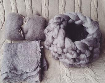 Wool basket and blanket set Natural Grey Brown Fluff Blanket Newborn Baby Photography prop Wool Basket Stuffer RTS UK seller