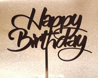 Happy Birthday Cake Topper - Center Piece - Script Birthday - Happy Birthday - Party Decoration - Wood Cake Topper