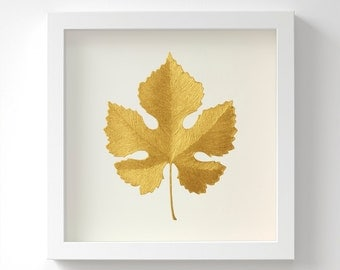 Vine Leaf – Original Acrylic Painting – Gold Leaf – Hand Painted in 6 Metallic Shades – Wall Art – Leaf Gift – Handmade – 3 Sizes – Unframed