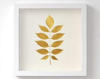 European Ash Leaf – Original Acrylic Painting – Gold Leaf – Hand Painted in 6 Metallic Shades – Wall Art – Gift For Her – 3 Sizes – Unframed