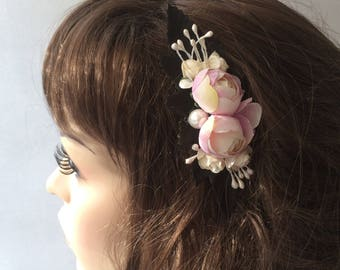 Bridal Comb, Bridal Comb Headpiece, Pink and Ivory, Flower Wedding Comb, Wedding Hair Piece, Bridal Comb