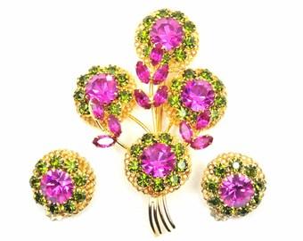 Rhinestone Jewelry Set, Flowers Brooch, Pink and Green Brooch, Matching Earrings,