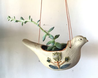 Hanging Ceramic Bird Planter