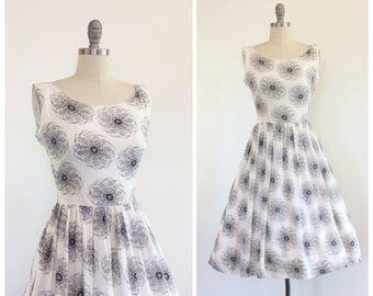 50s Black & White Swirl Dress / 1950s Vintage Fit and Flare Chiffon Summer Dress / Medium / Size 8