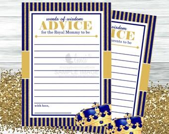 Royal Baby Shower Advice Card, Instant Download  - Digital File