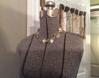 Vintage Steampunk Rhinestone Linked Disk Choker Necklace
