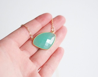 Elyssa - Aqua Chalcedony Trillion Bezel Necklace