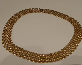 Vintage Necklace Wide Band Choker Unsigned Beautiful