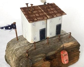 Driftwood Art * Unique Gift * Little wooden House * Driftwood * Coastal Art * Coastal Home Decor * Recycled Art * Found art* Rustic Decor