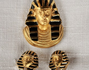 Vintage E. Pearl Eqyptian Pharaoh Demi Parure Brooch and Earrings Black and Gold with Diamond accents