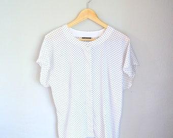 Vintage Black + White Polka Dot Print Short Sleeve Blouse