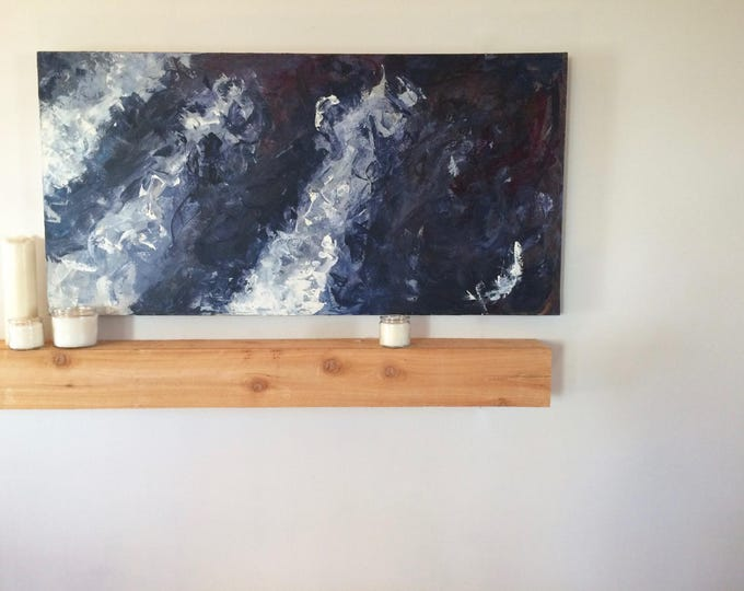 "Blue Painting | Large Painting | Abstract Painting | Acrlylic Painting | Blue and White | Unique Decor | 48""x24"" Painting ""Accesa"""