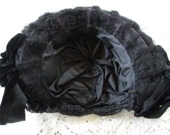 Antique Woman's Mourning Hat - PRICE REDUCED