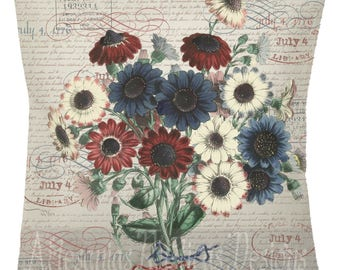 July 4 Botanical Pillow 100% Cotton Canvas and Burlap Vintage Red White Blue Flower Bouquet and Stamps Throw Pillow Cover Euro Sham