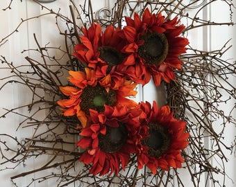 Sunflower Twig Wreath, Rustic Wreath, Summer Wreath, Fall Wreath, Primitive Wreath, Front Door Wreath, Sunflower Wreath, Fall Decor