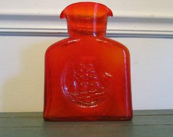 Vintage Blown Glass Ship Water Bottle