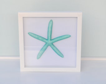 Nautical Decor, Starfish Shadow Box, Metallic Starfish Beach Decor, Beach Wedding Decor, Anniversary Gift, Coastal Home Decor
