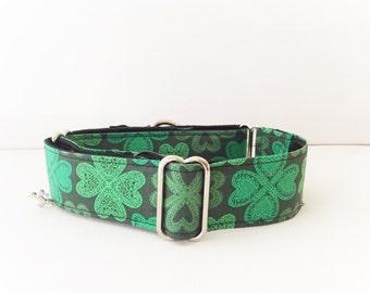 Ireland  martingale collar (dog collar, greyhound, martingale, luck 4 leaf clover green, cotton satin)