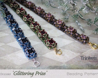 Tutorial for beadwoven bracelet 'Glittering Prize' - PDF beading pattern - DIY