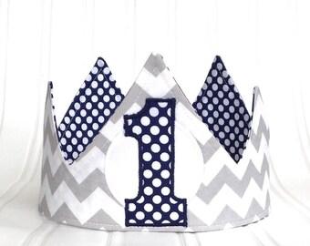 Boy First Birthday Crown -First Birthday Hat - First Birthday Party - Fabric Crown - classic birthday hat -  Photo Prop