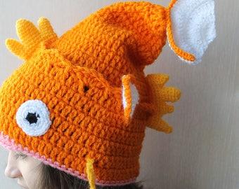Magikarp Slouchy Hat, Karpkarp crochet hat, Magikarp Pokemon Crochet Hat, Magikarp Hat Crochet, Hat Pokemon,Pokemon Magikarp, Cute Magikarp