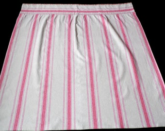 Swedish Christmas Linen square Curtain with Red Stripes . GOD JUL . Made in Sweden