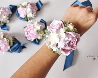 Wrist Flower Corsage Bracelet Wedding Flowers Pink Prom Floral Bridesmaids