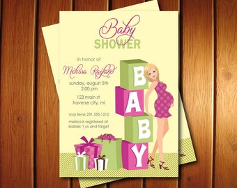 Blocks Baby Shower Invitations - Girl Baby Shower Invites - Available in African American