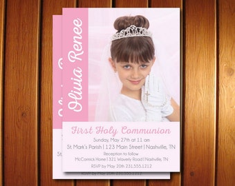 Photo First Communion Invitations  - Girls 1st Holy Communion Invites - Announce It!