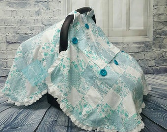 Tranquil Turquoise Patchwork Cotton Car Seat Canopy