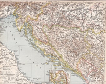 1899 Croatia, Istria, Bosnia, Dalmatia and Slavonia with the Adriatic Sea at the end of the 19th Century Dated Original Antique Map