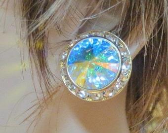 Genuine Swarovski Aurora Borealis Crystal Rivoli Button Dance Wedding Earrings 20 mm