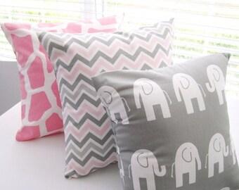 CLEARANCE Pillow Cover, Pillows, Baby Pillow Case, Baby Girl, Baby Boy, Nursery, Pink Giraffes, Gray Elephants, Pink Chevron, Gray Chevron