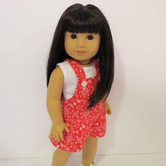 """18"""" Doll Clothes - Shortalls Romper and Tank Top - Made to fit AG and similar 18 inch dolls"""