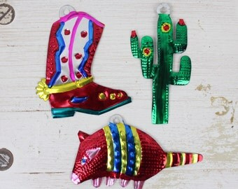 SAGUARO- Handmade Mexican Tin Ornaments (Set of 3)- Saguaro- Boot- Armadillo- Home Decor- Holiday- Cinco De Mayo- Christmas Tree- Fiesta