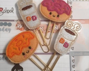 DD Coffee & Donut Felt Planner Paper Clips