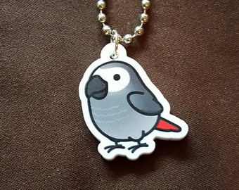 "Chubby African Grey 1"" Pendant and Stainless Steel Ball Chain Necklace"