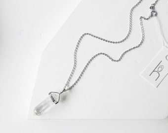 Crystal Quartz Point Necklace, Crystal Quartz Point on a Delicate Silver Plated Chain, Bohemian Necklace, Crystal Point Necklace