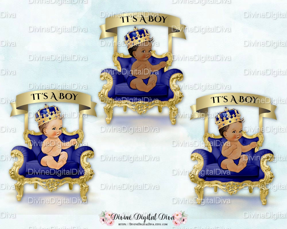 Little Prince Royal Blue Amp Gold Chair Banner Crown