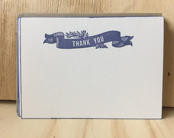 thank you note cards, vintage inspired, flat note cards/envelopes, thank you banner stationery set