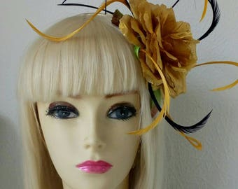 Large gold rose hat head dress vintage burlesque style wedding outfit races head piece fascinator hair flower navy blue feathers pink