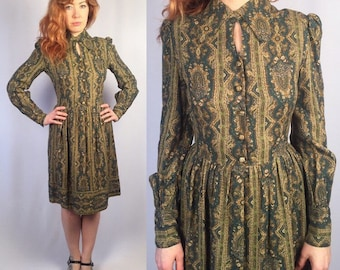 Vintage 1960's Dollyrockers Green Paisley Mod Dress