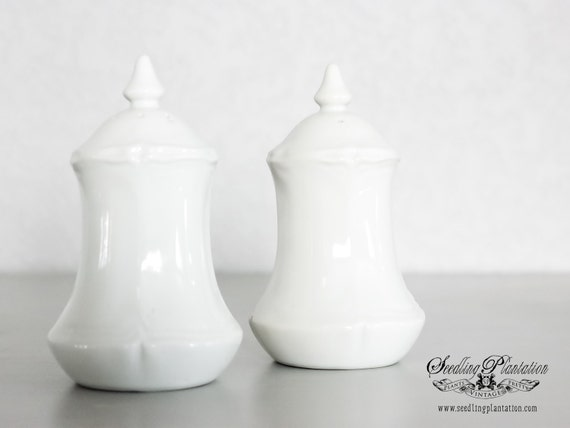 Vintage White Salt and Pepper Shakers-French Country Shabby Chic Farmhouse Ironstone